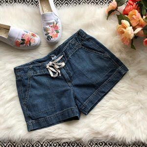 Gap Drawstring Jean Shorts Back Flap Pockets